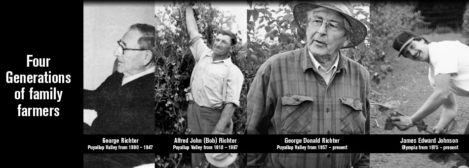 Four generation of berry farmers - George Richter, AJ (Bob) Richter, George Richter and Jim Johnson